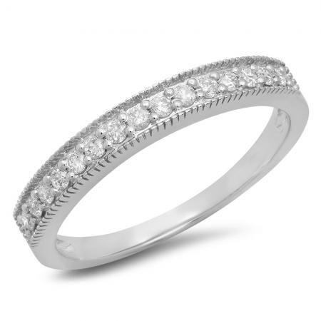 I love like yours will endure the test of time. Celebrates and symbolize your wedding vows with this exquisite 10k white gold stackable band. Shimmering white diamond?s totaling 0.25 carat is prong-set across the width of the band. Intricate millgrain detailing borders the ring at the top and bottom, adding depth and dimension to this captivating style. Buffed to a brilliant luster, a style this magnificent says ?I love you? without saying anything at all.