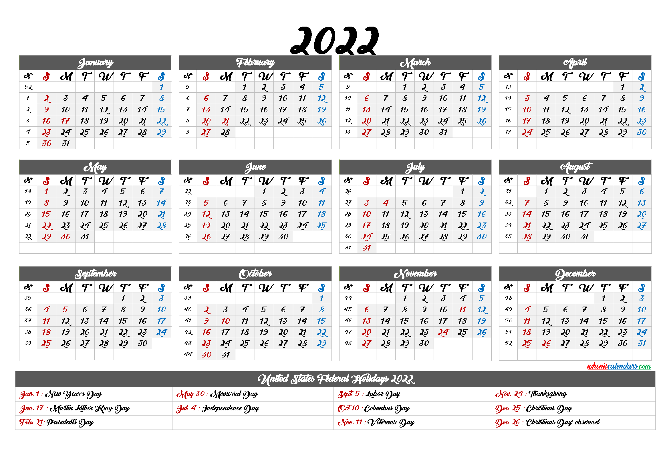 Printable Calendar 2022 With Holidays 6 Templates In 2020 Calendar Printables Printable Calendar Templates Printable Free