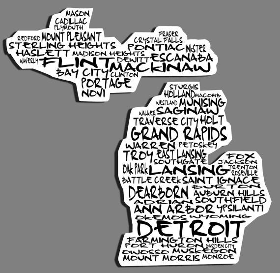 Cities of michigan car decal by cwdecals on etsy