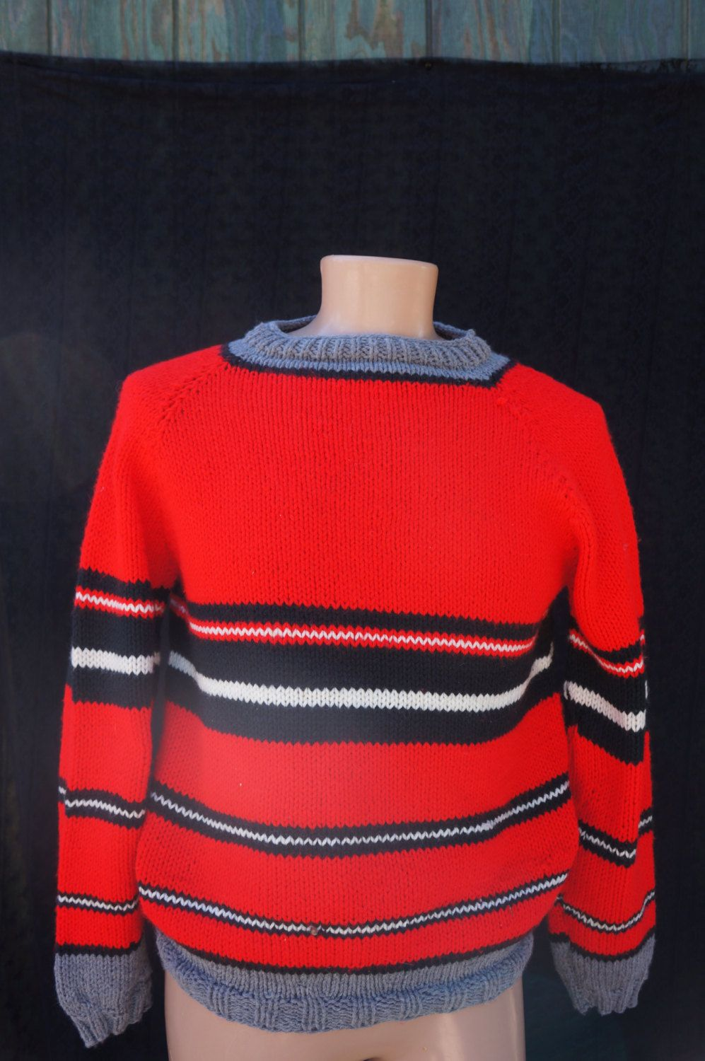 60s Hand Knit Ski Sweaters / Vintage Red Hand Knit Over Size ...