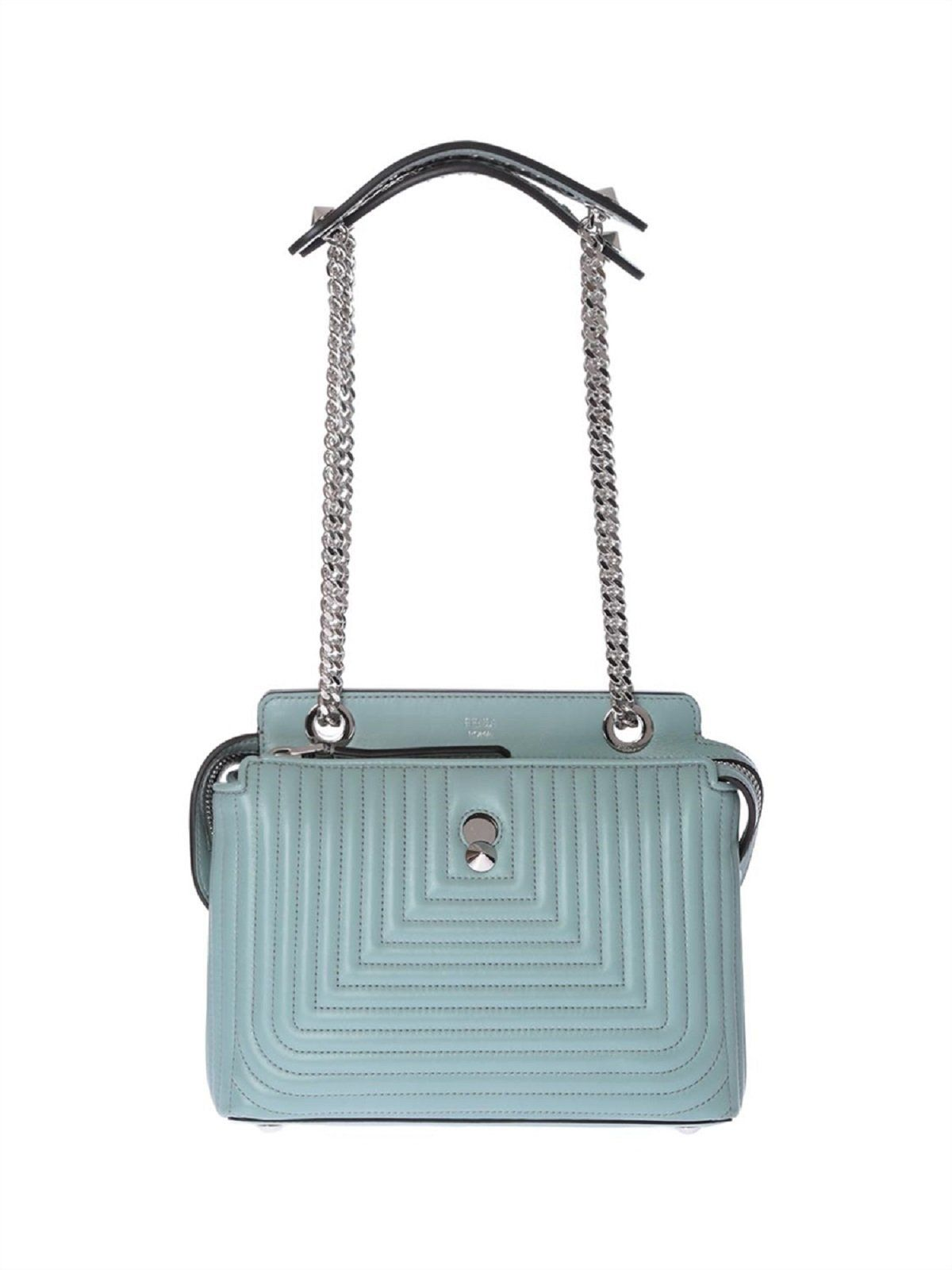 Fendi Dotcom Click Pale Blue Small Quilted Lambskin Leather Chain Satchel  Bag Silver Hardware 8BN299 Dust 01fa8e3422281