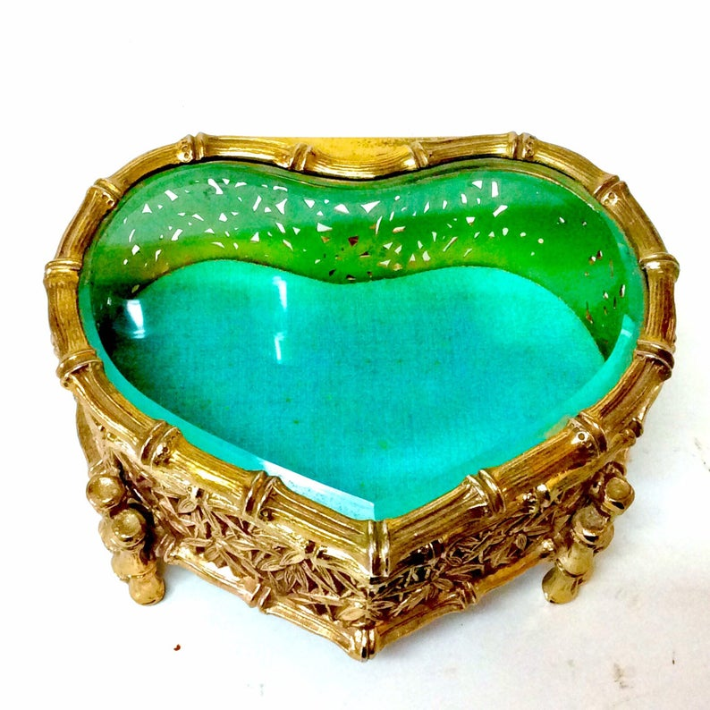 Vintage Ormolu Brass Heart Jewelry Casket with Beveled Glass Hinged Lid In an Ornate Bamboo Design Romantic Gift for Her Feminine and Solid