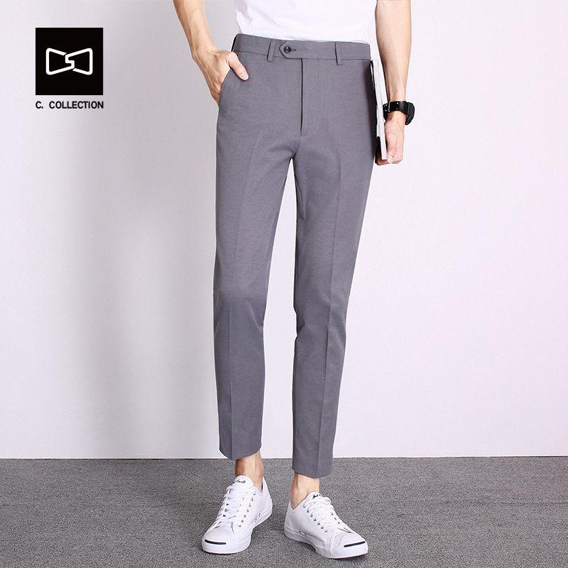 b737ede801e Men s Casual Pants Men Pants Trousers Cotton Slim Fit Ankle-Length Pants  Spring Summer Straight