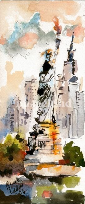 Of Liberty New York Watercolor by Ginette