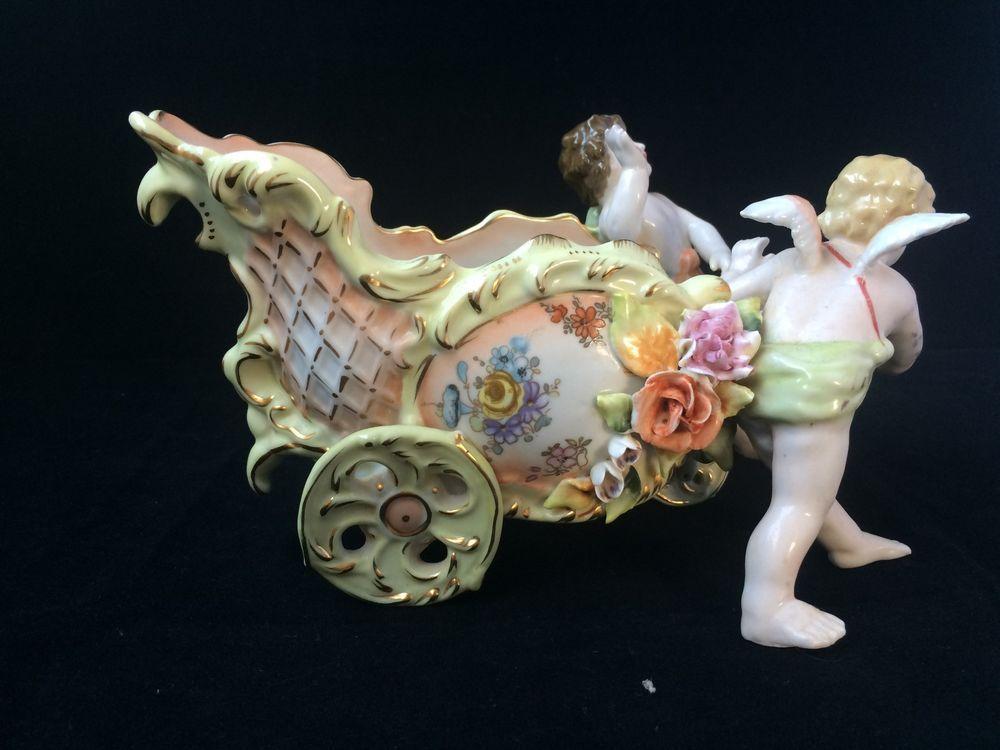 Antique porcelain  Von Schierholz German Dresden Cherubs with bowl . Marked  #dresden #schierholz