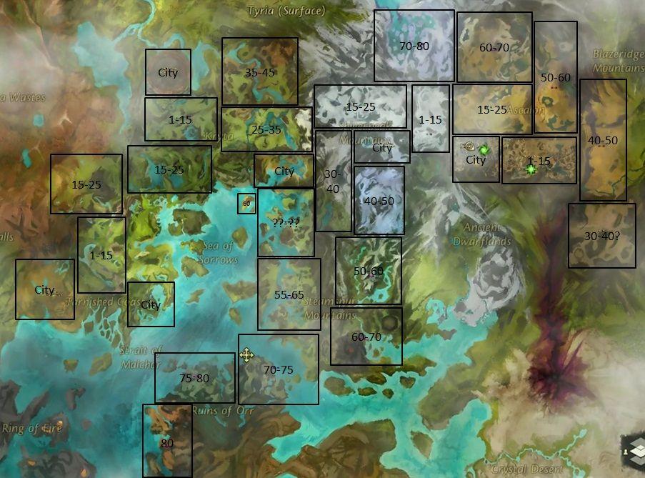Guild Wars 2 World Map GW applique le même principe que WoW à ...