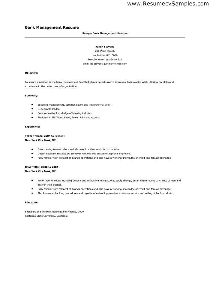 Sample Resume For A Bank Teller Position - http://www.resumecareer ...