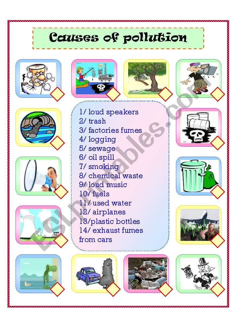 It S A Matching About The Causes Of Pollution Pollution Activities Worksheets Pollution Activities Pollution [ 1169 x 821 Pixel ]