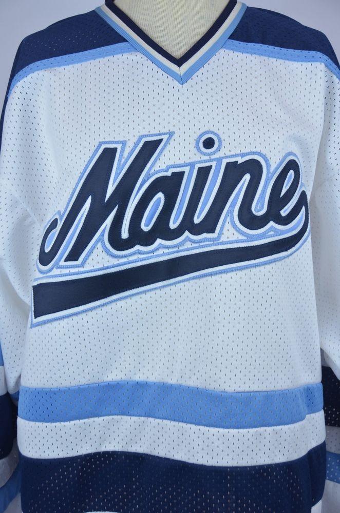 best website 793b7 a7ec8 University of Maine Black Bears White Sewn Logos Hockey ...