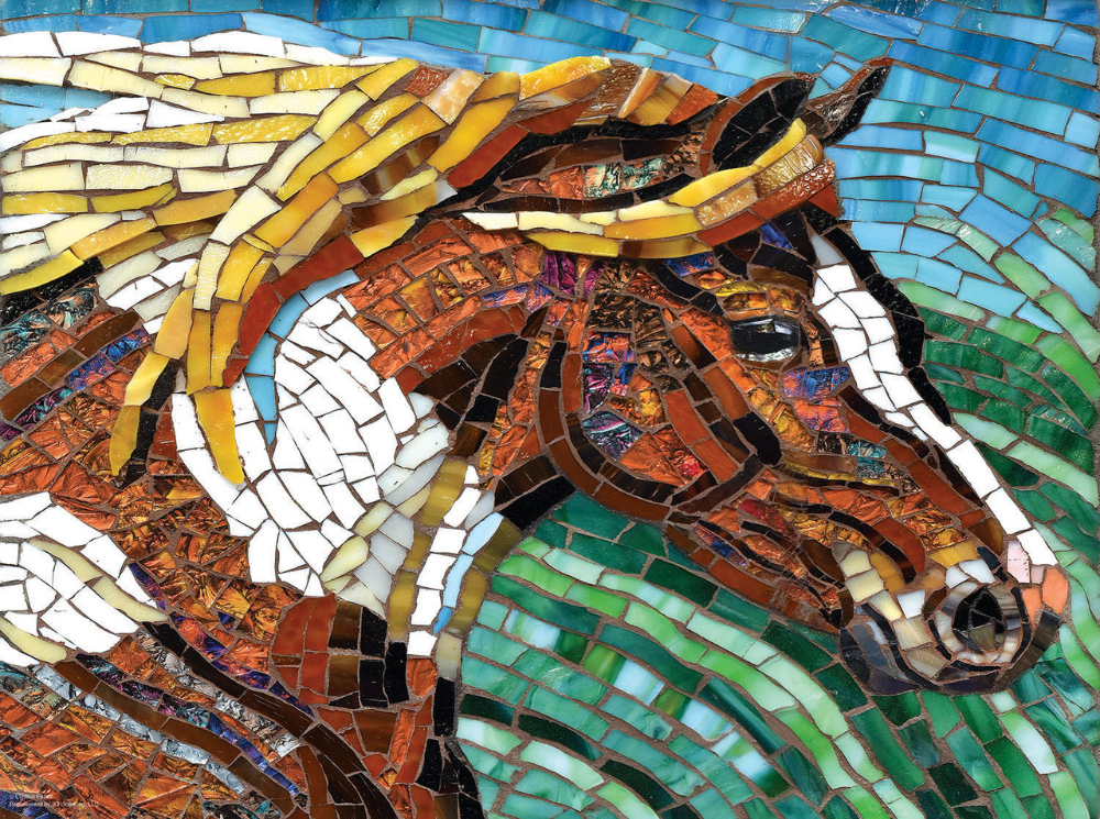 Stained Glass Horse 1000pc Jigsaw Puzzle By Sunsout NEW