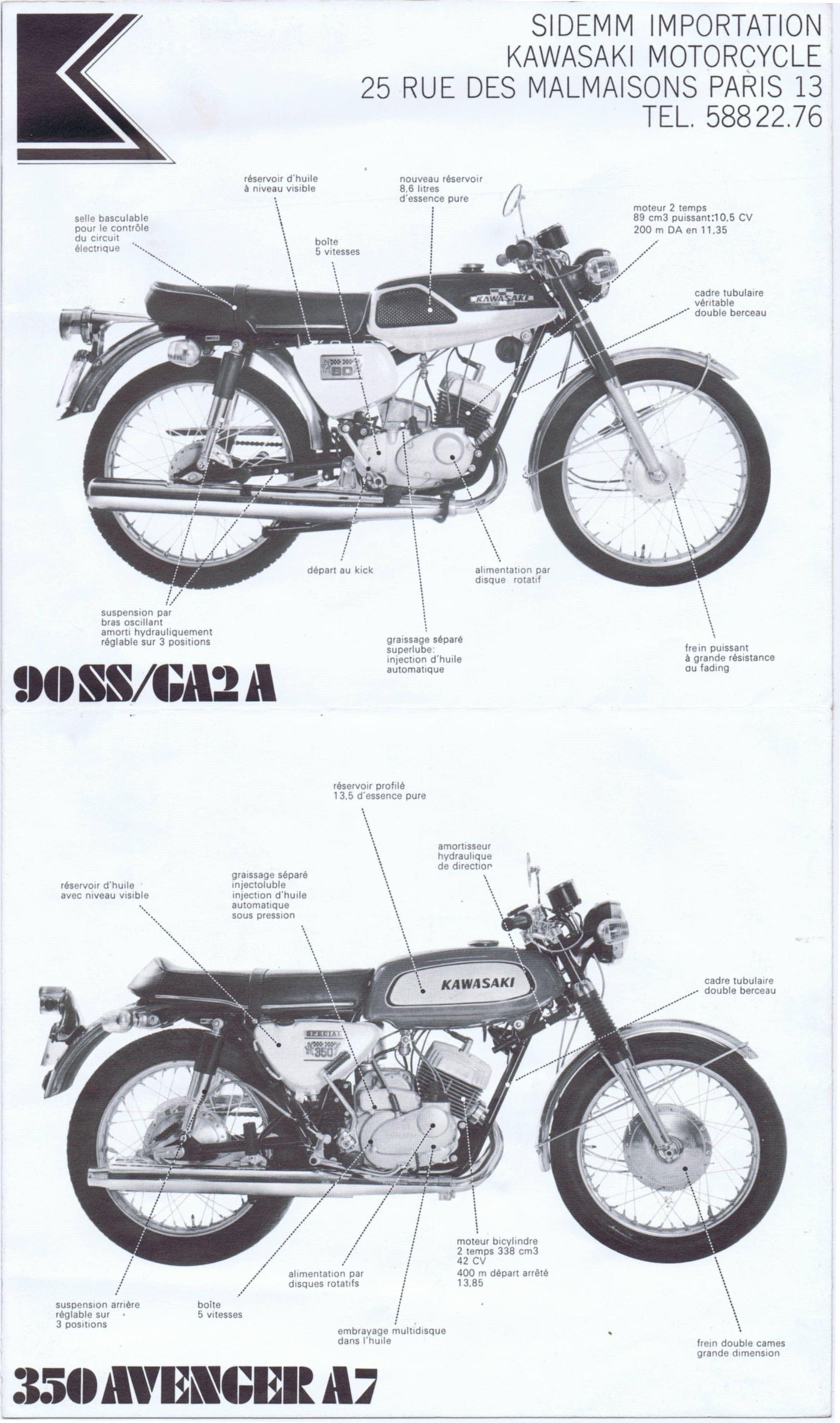 Kawasaki 250 Samurai A1 350 Avenger A7 500 Mach Iii 2