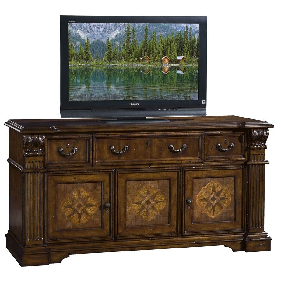 sligh 9765 1 lr laredo media console in dark caramel mobilier du media