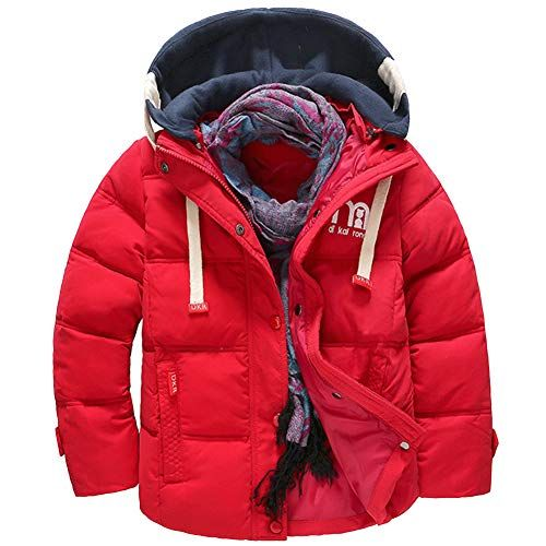WDREAM Boy s Girl s Hooded Coat Winter Quilted Puffer Jacket Parka Down Coat  Red 140cm Best Winter Coats for Women USA aaa63e1e69