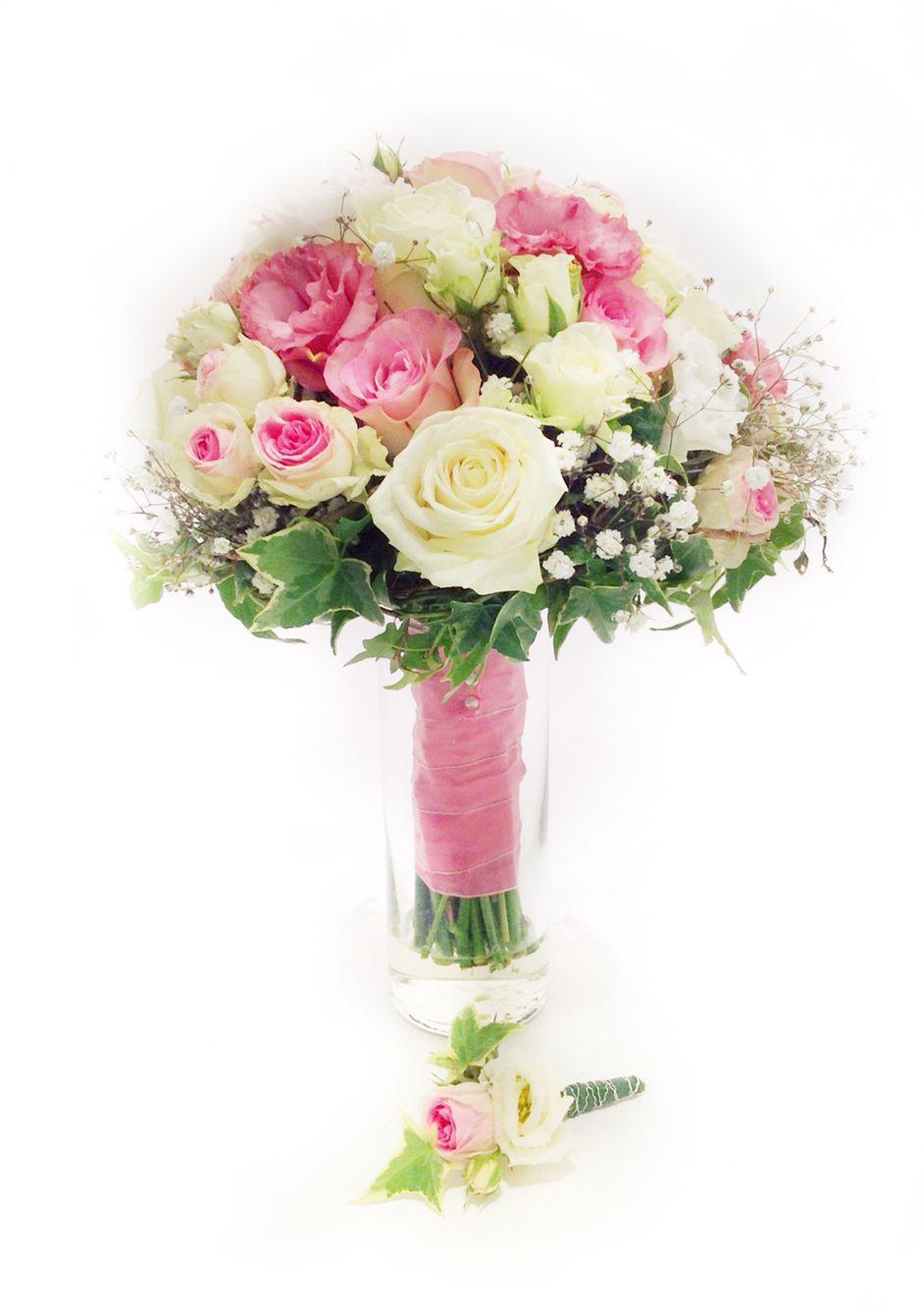 Brautstrau rosa wei mit Rosen Eustoma und Efeu