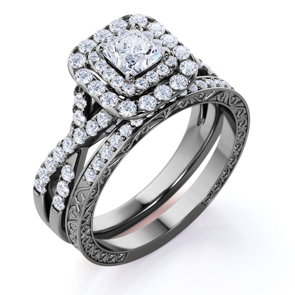 Jeenmata 1 25 Ct Square Moissanite Double Halo Twisted Band Vintage Inspired Pave Gothic Wedding Ring Set In 10k Black Gold Walmart Com Wedding Ring Sets Gothic Wedding Rings Wedding Rings