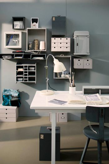 Gray, Studio, boxes, Wood, storage, organization, Clean, Clutter