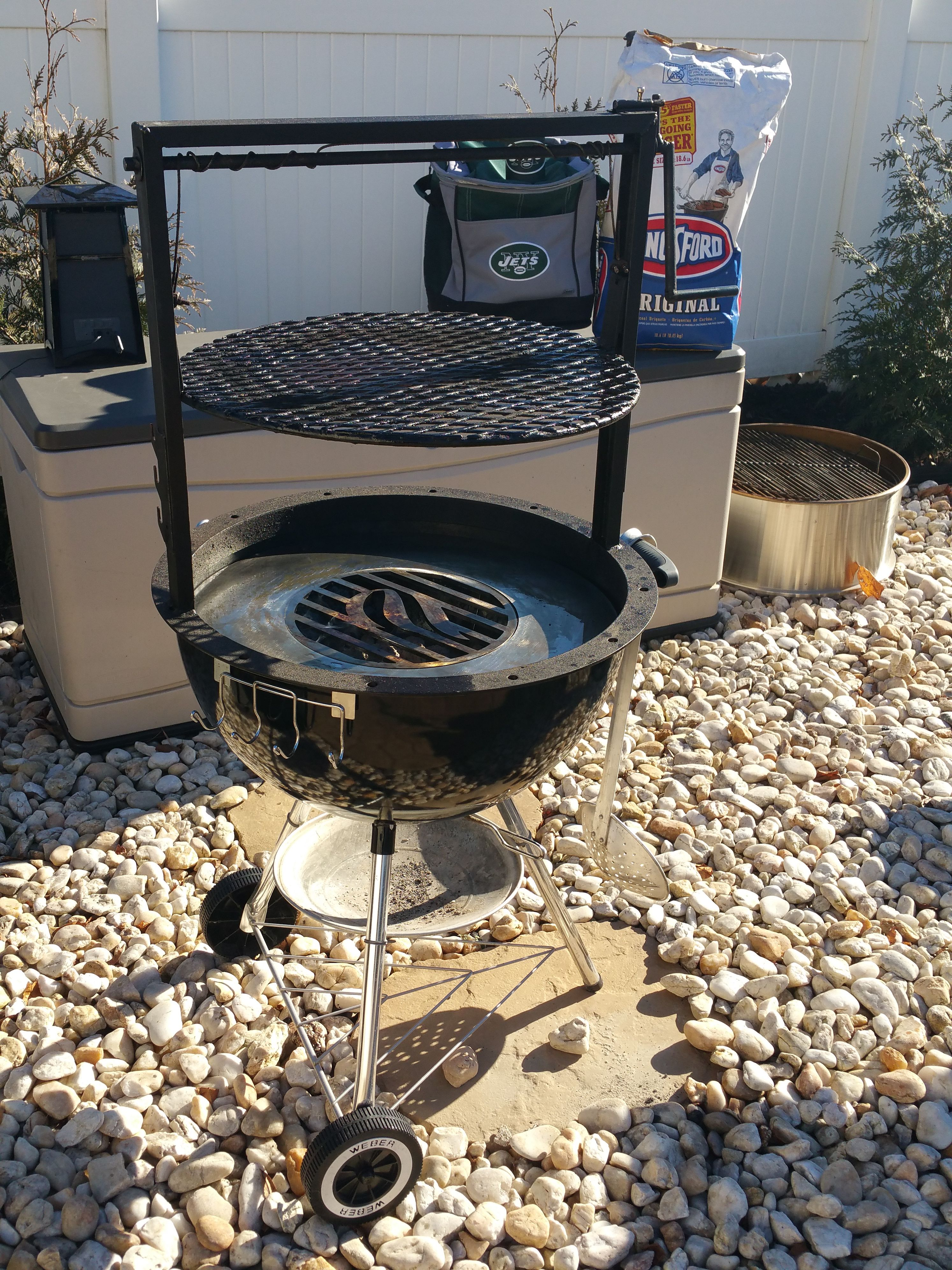 Weber Grill With Arte Flame Insert And Santa Maria Style Grill Attachment Weber Grill Grilling Charcoal Grill