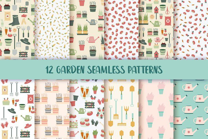 Garden Seamless Repeat Vector Patterns #pattern #seamlesspattern #garden #gardening #gardeningpattern #gardenpattern #digitalpaper #vectorpattern #farming #vegetables