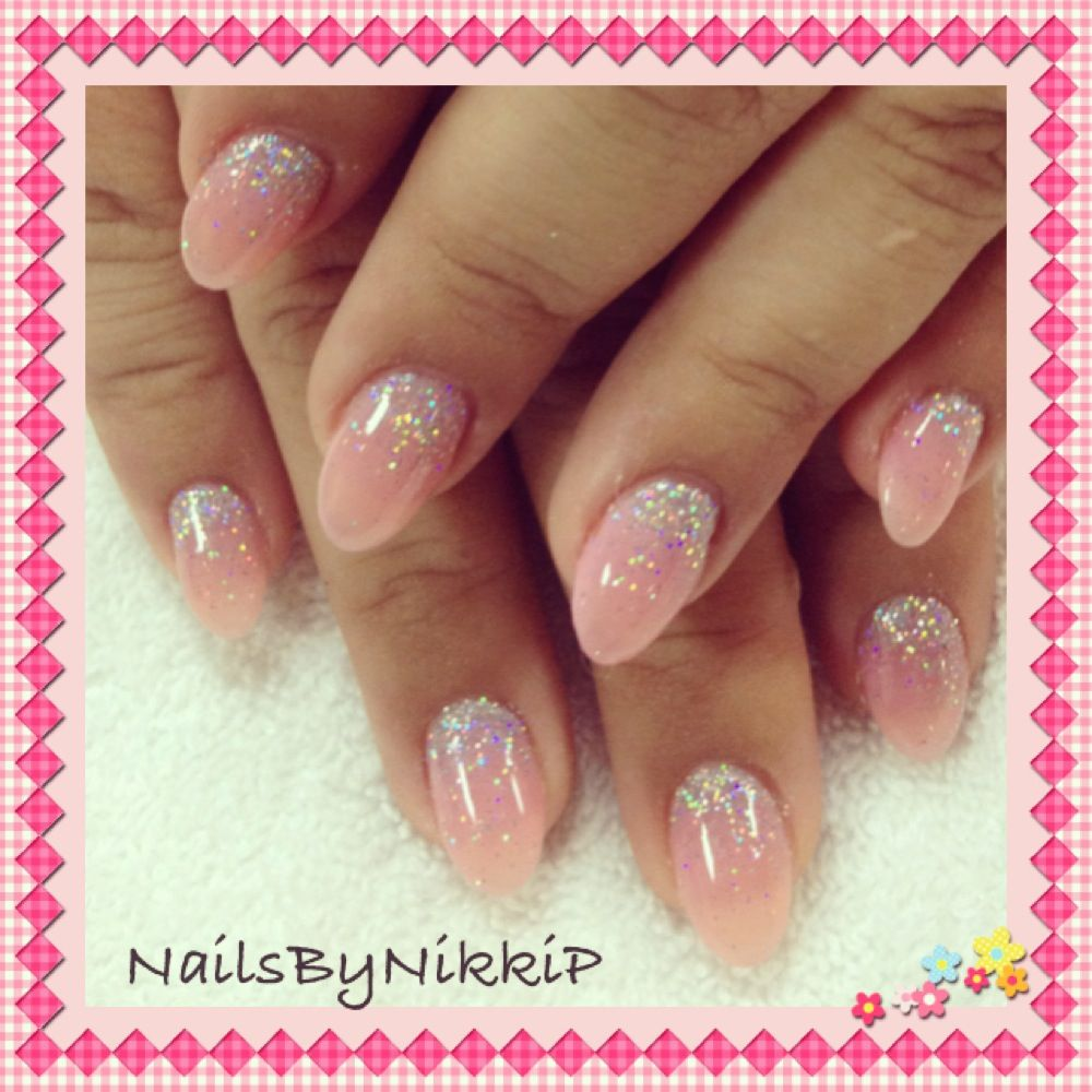 Popular fashion nails uxbridge - Pointed Nails With Iridescent Silver Glitter Fade Nail Art By Nailsbynikkip