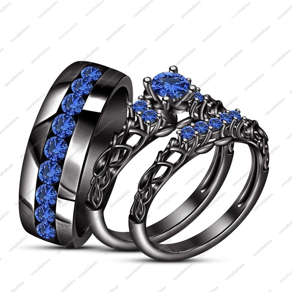 Engagement His Her Trio Ring Set In Black Gold Plated 925 Silver
