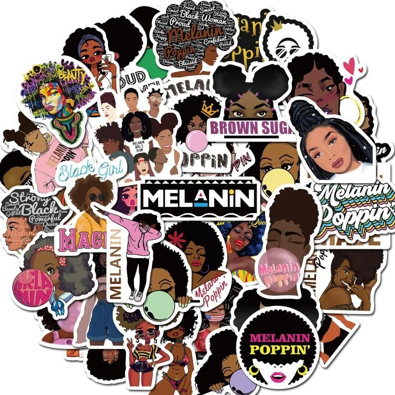 50pcs Fashion Inspirational Melanin Poppin Black Girl Stickers Girl Stickers Melanin Poppin Black Girls Anime Stickers