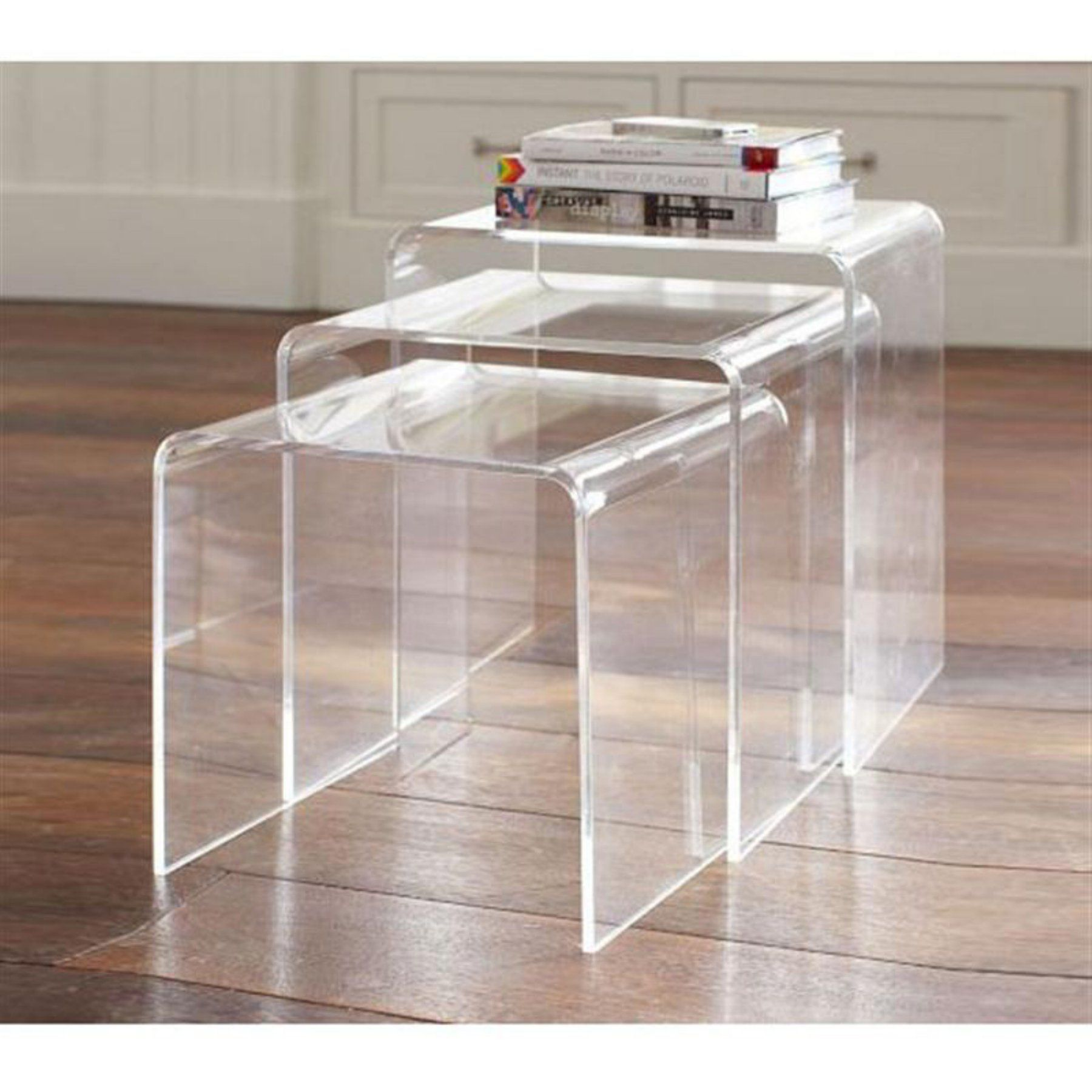 Homcom 3 Piece Stackable Nesting Acrylic End Tables Clear