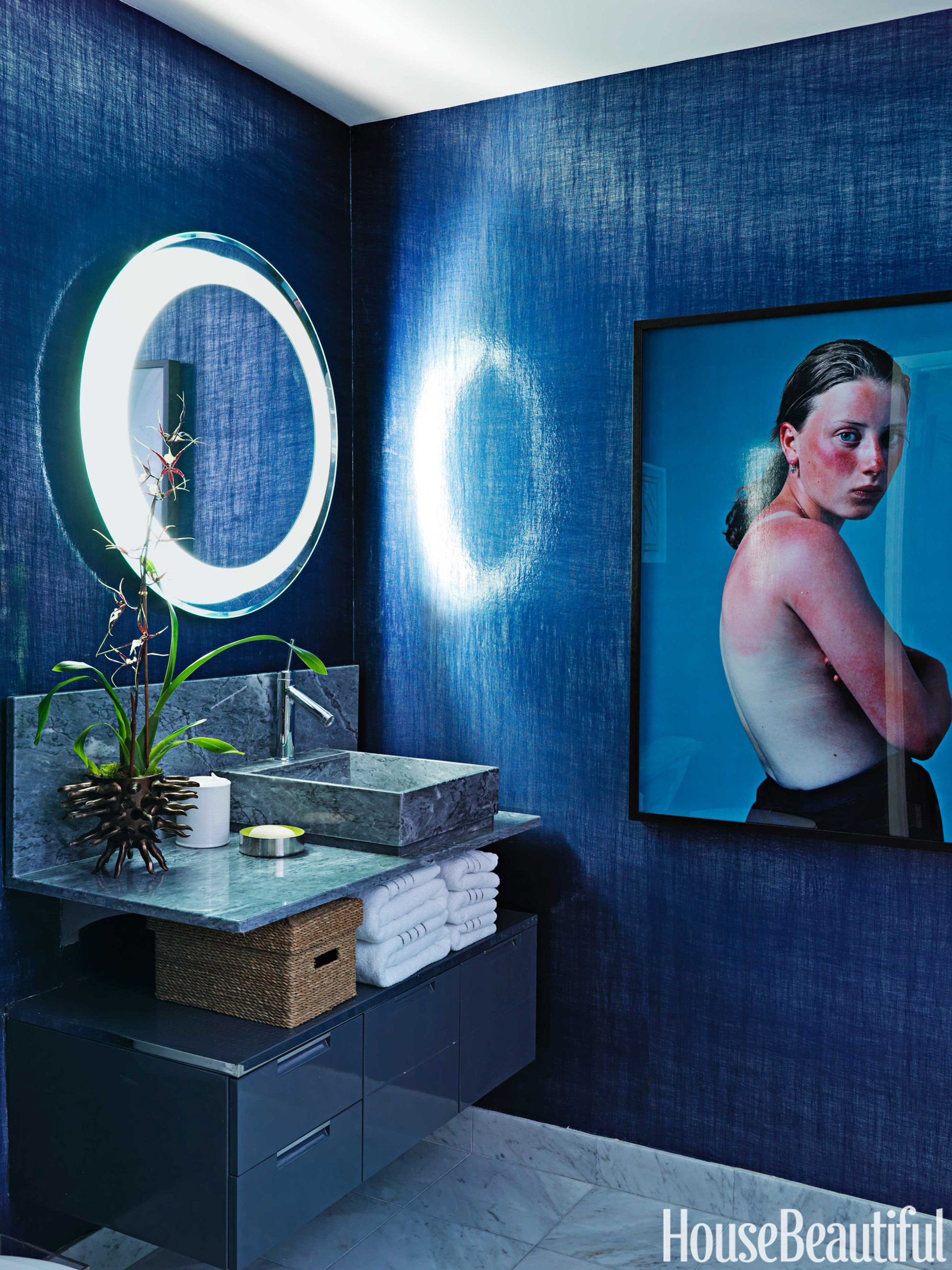 A Colorful and Modern Miami Apartment | Guest bath, Sinks and Bath