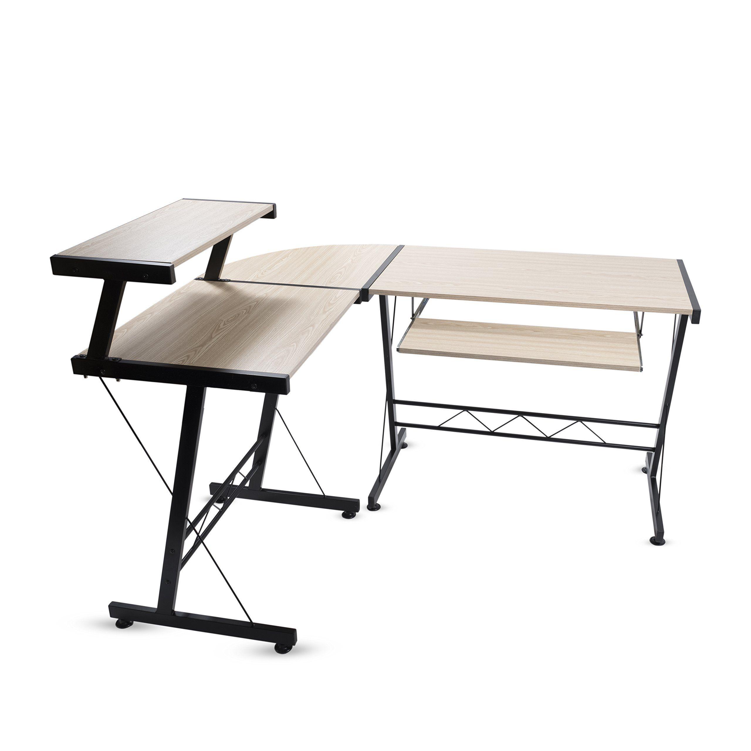 modern durable l shape computer desk workstation great for office