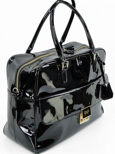 Anya Hindmarch Handbag - Black Patent Leather Carker Bag. Our ...