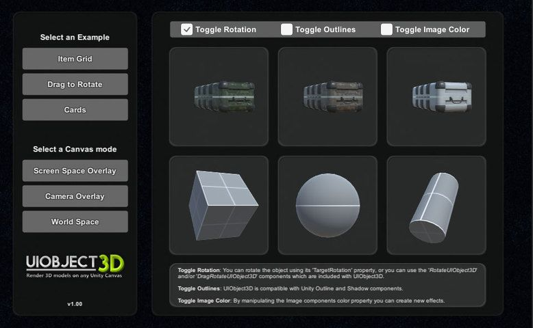 UIObject3D: Render 3D Models on any Unity UI Canvas #Models
