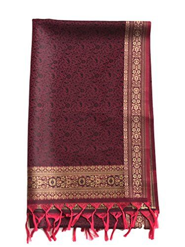 6df2e43364df0 TC Embroidered Silk Border Scarf Shawl Wrap Pashmina in Beautiful Wine Color  * Learn more by visiting the image link. (This is an affiliate link) # ...
