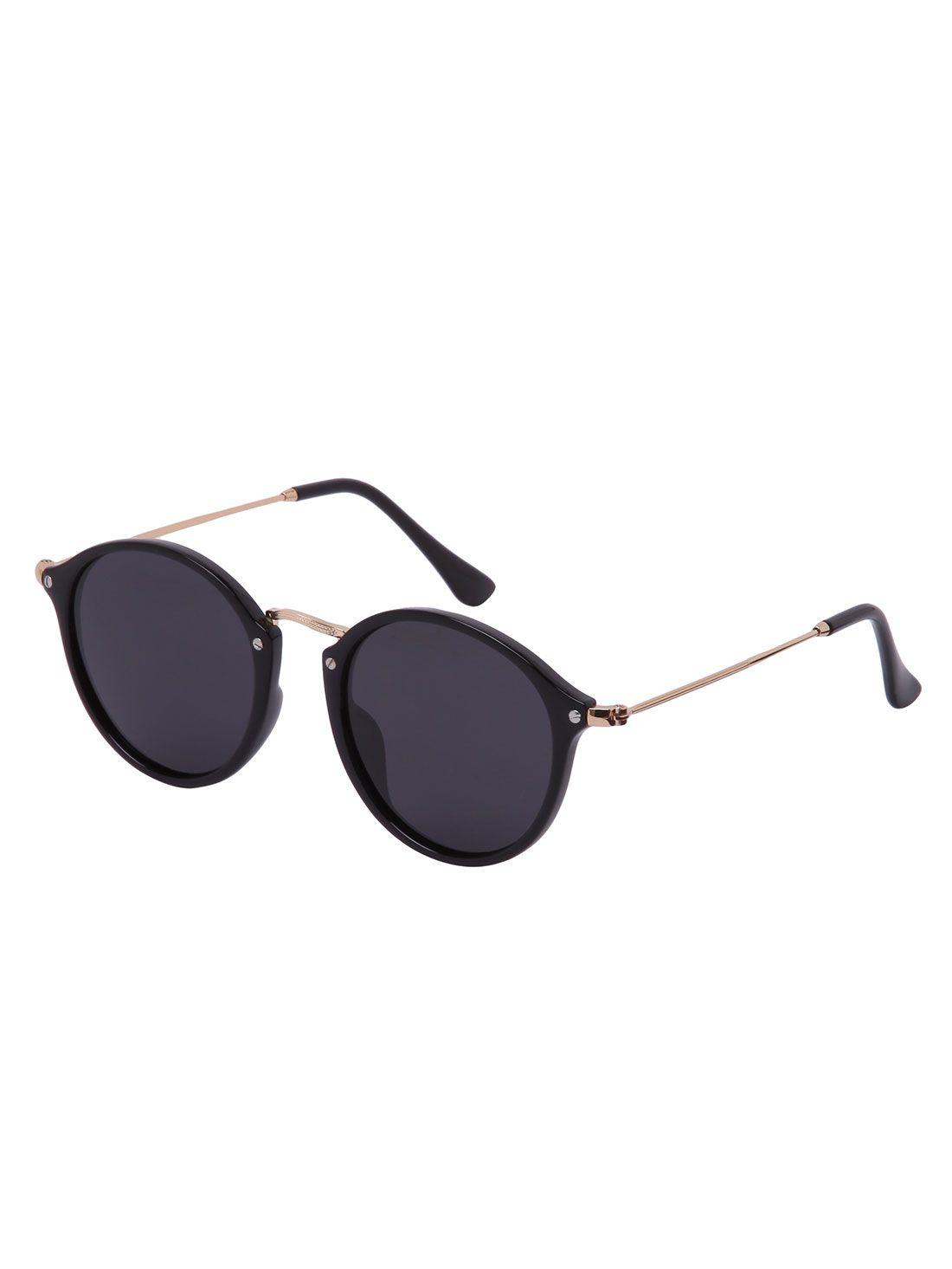 Black lenses round frame sunglasses sheinsheinside