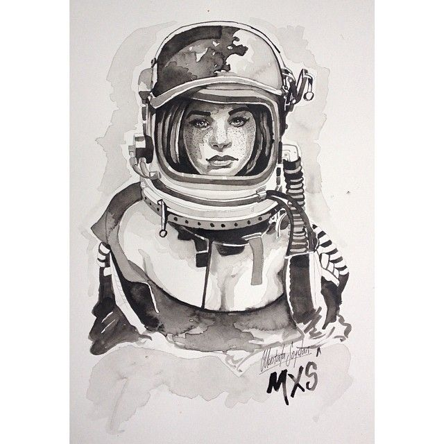 Ink Drawing Astronaut Art