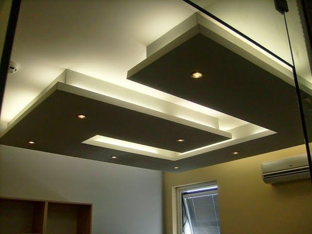 Gypsum Board False Ceiling Designs Or Living Room Modern LED Lights