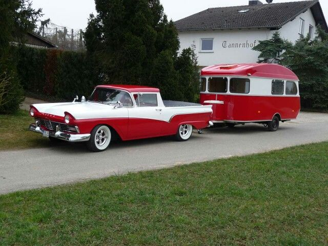Red And White Ford Ranchero And Vintage Camper