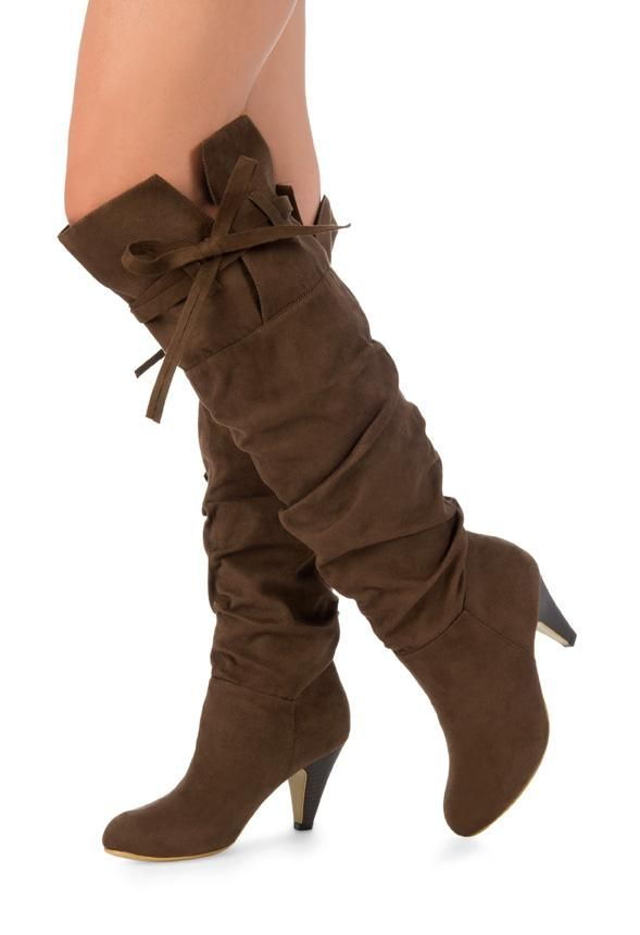 This pair of tall boots has a feminine touch with a bow near the knee.