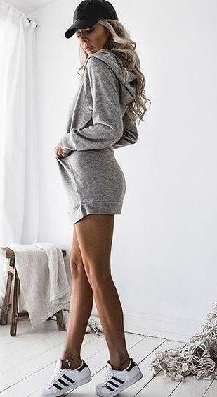 14e136bc788 hooded sweatshirt dress + adidas sneakers.