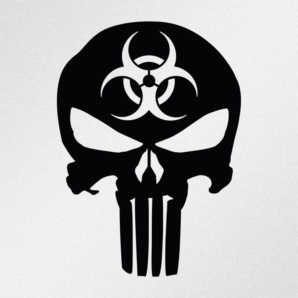 Punisher Skull Biohazard Symbol Car Body Window Bumper Vinyl Decal