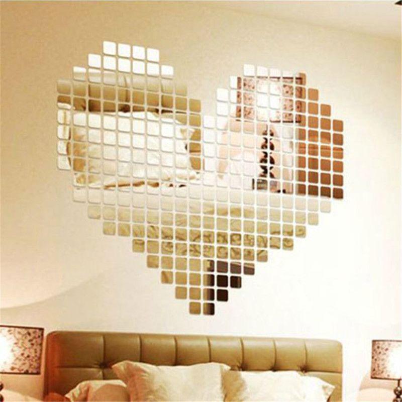 Aliexpress.com : Buy 2016 New Fashion 100pcs 2x2cm Bling Bling Acrylic 3D Mural Wall Sticker Mosaic Mirror Effect Home Decor DIY from…