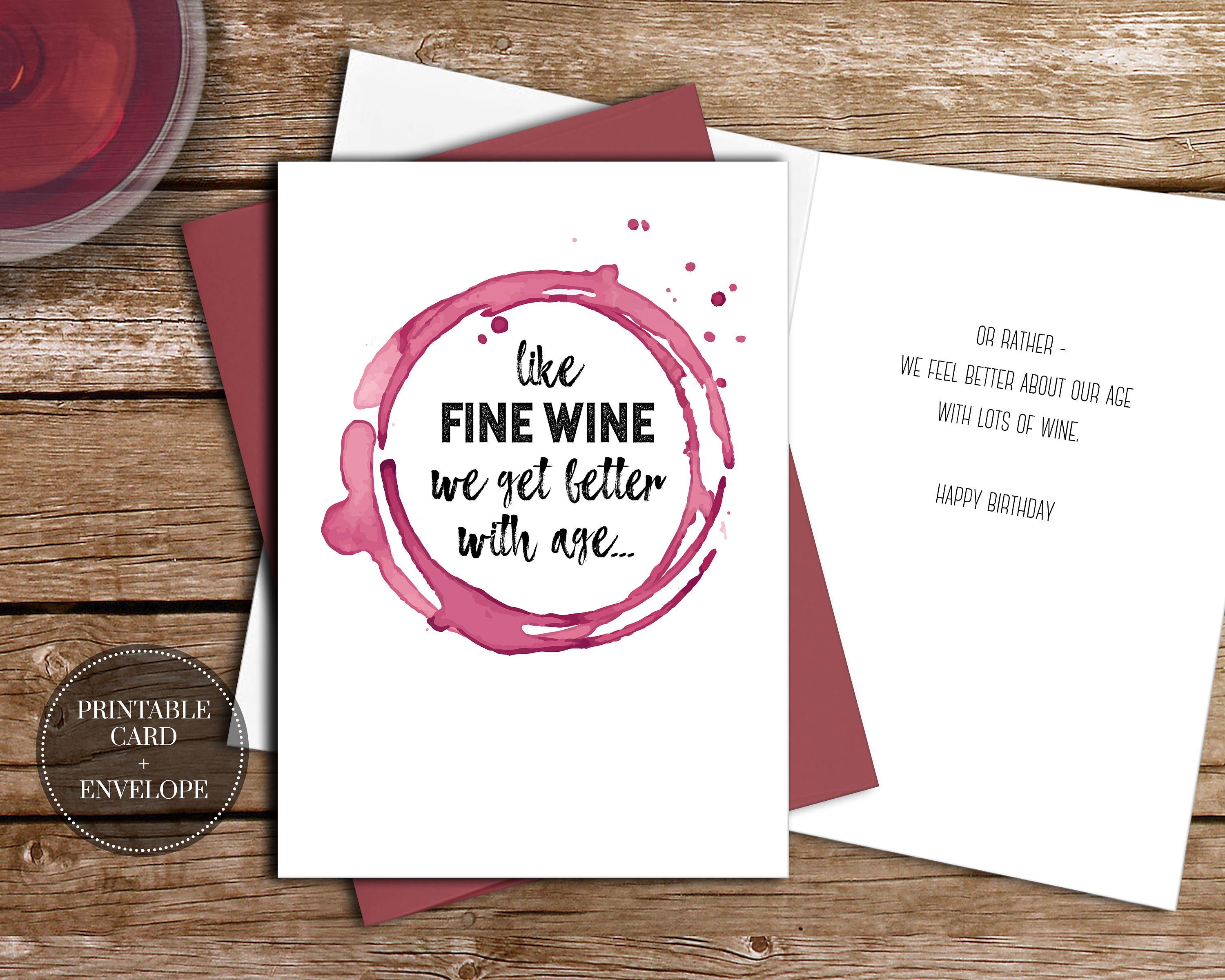 Printable Funny Wine Birthday Card Instant Download