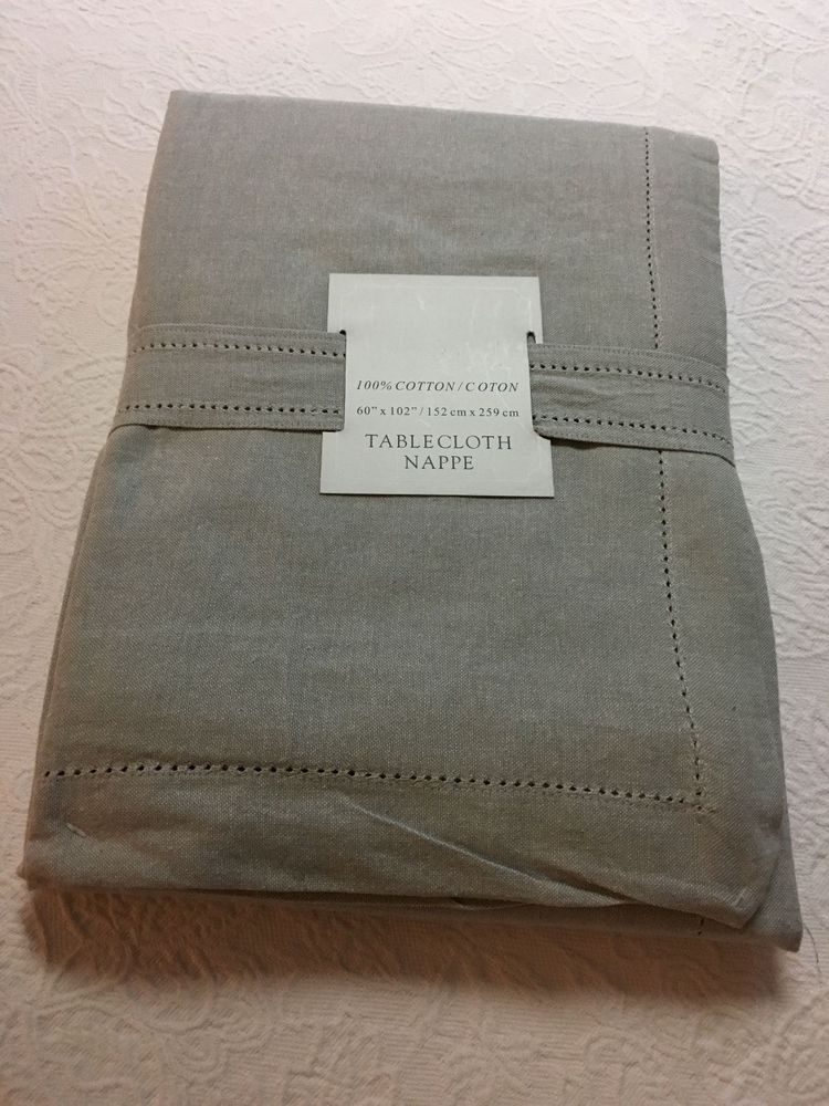 Elite Hemstitch Light Grey 100% Cotton Tablecloth Various Sizes U0026 Shapes New
