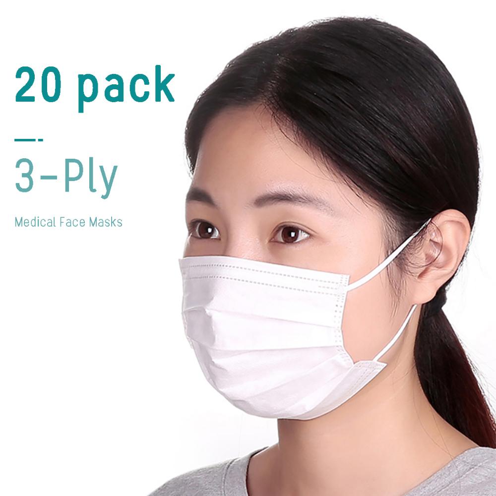 20pcs Disposable Medical Face Mouth Masks 3layer Anti