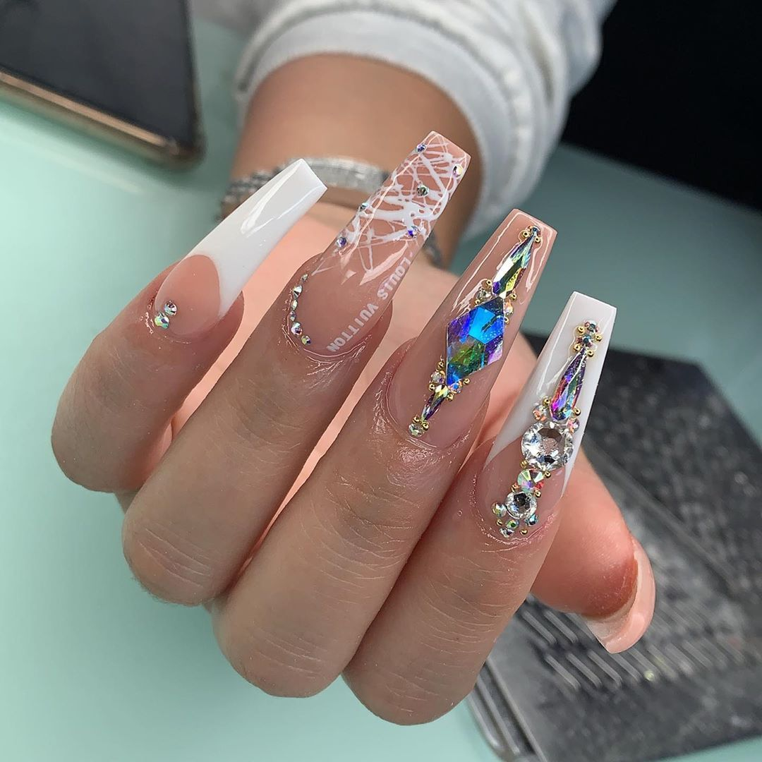 Tina On Instagram Nails For The Beautiful Rennirucci Appointments Available This Week Link In Bio To In 2020 Glam Nails Bling Nails Simple Acrylic Nails