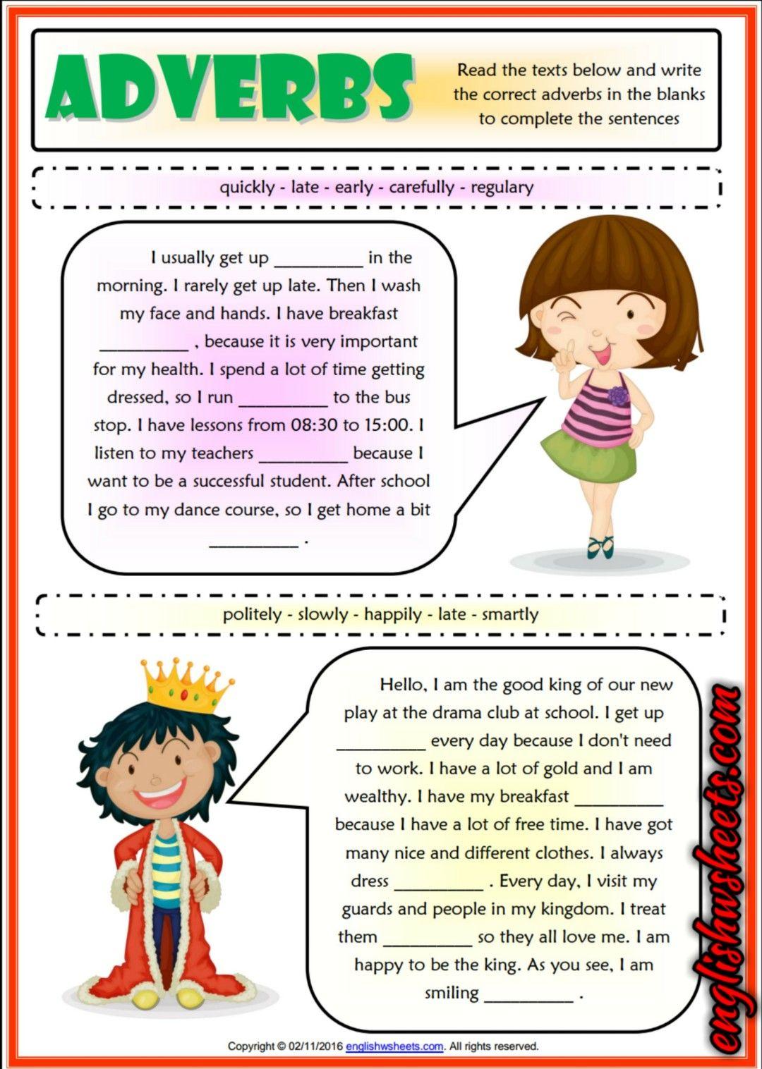 Adverbs Gap Fill ESL Grammar Exercises Test For Kids | Esl Printable ...