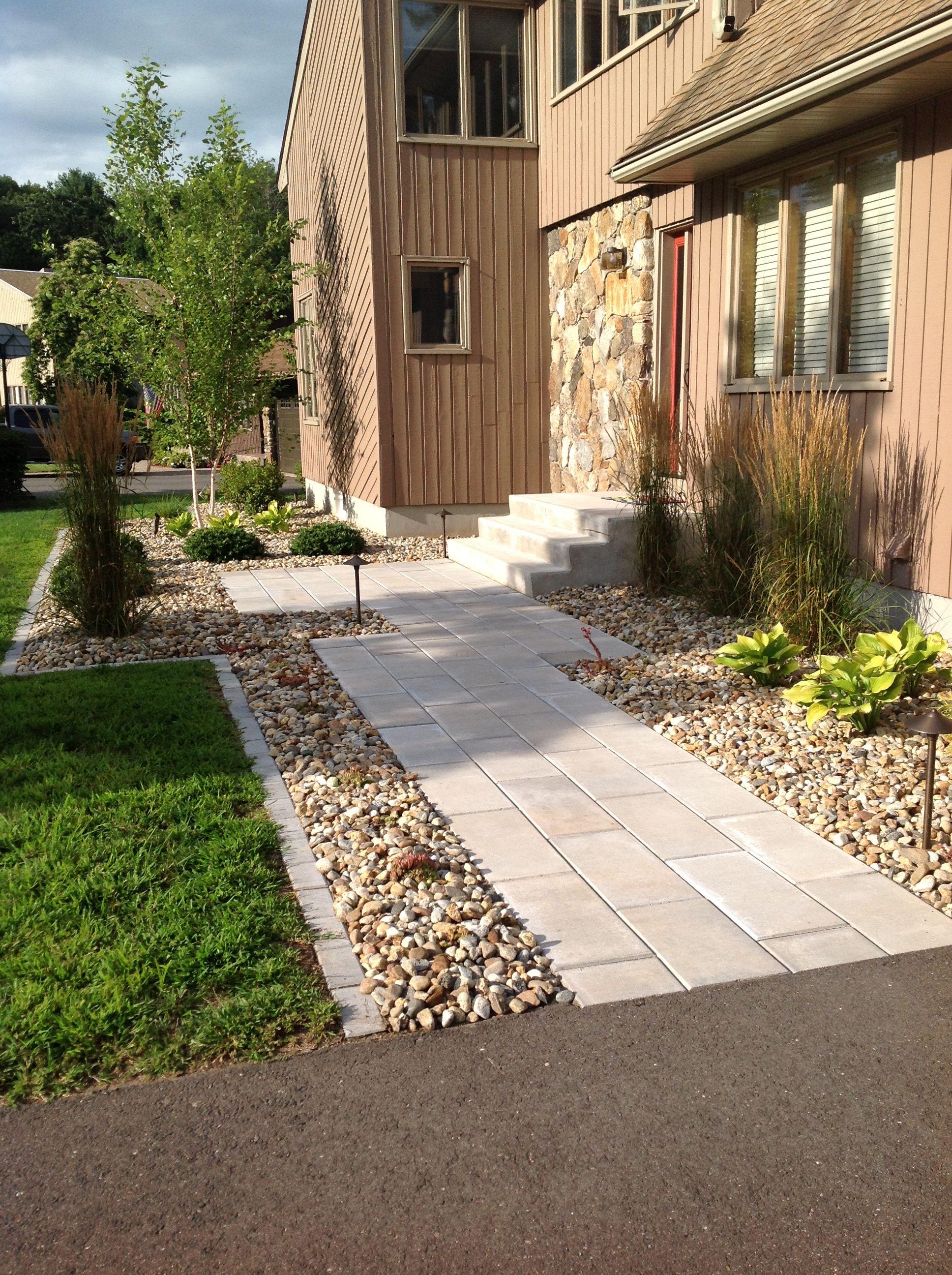 paver walkway with stone borders