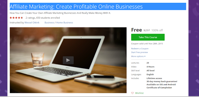 Affiliate Marketing Create Profitable Online Businesses udemy 100% discount coupon code