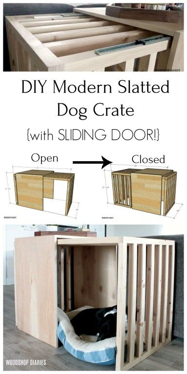 Photo of Dog Crate with Sliding Door | {5 steps to BUILD YOUR OWN!}