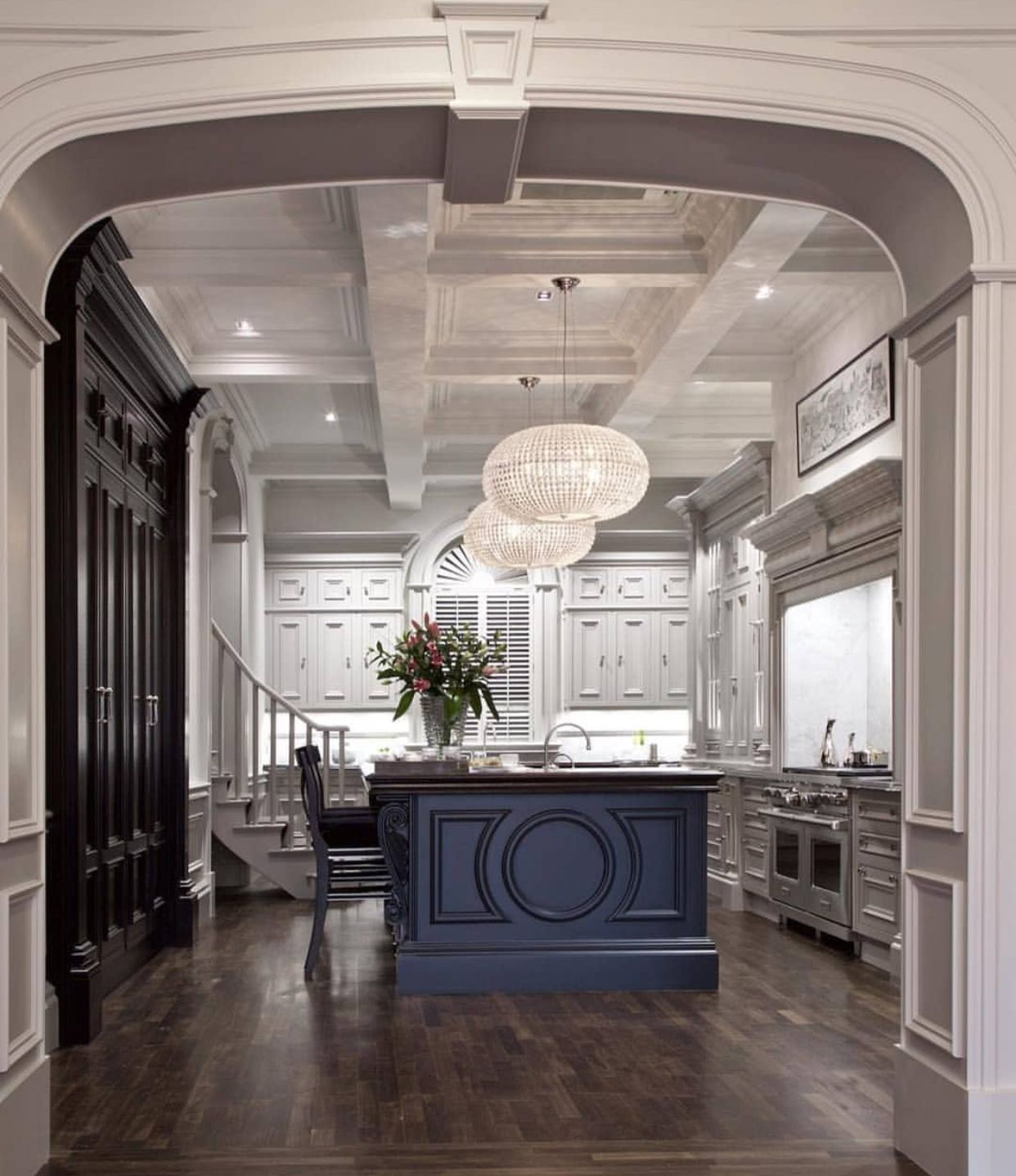 Archway Into Kitchen, Dark Floors W Transitions That Don't