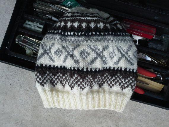 Mens Fair Isle Wool Hat - Mens Hand Knit Norwegian Hat - White Brown ... 16e6834e9735