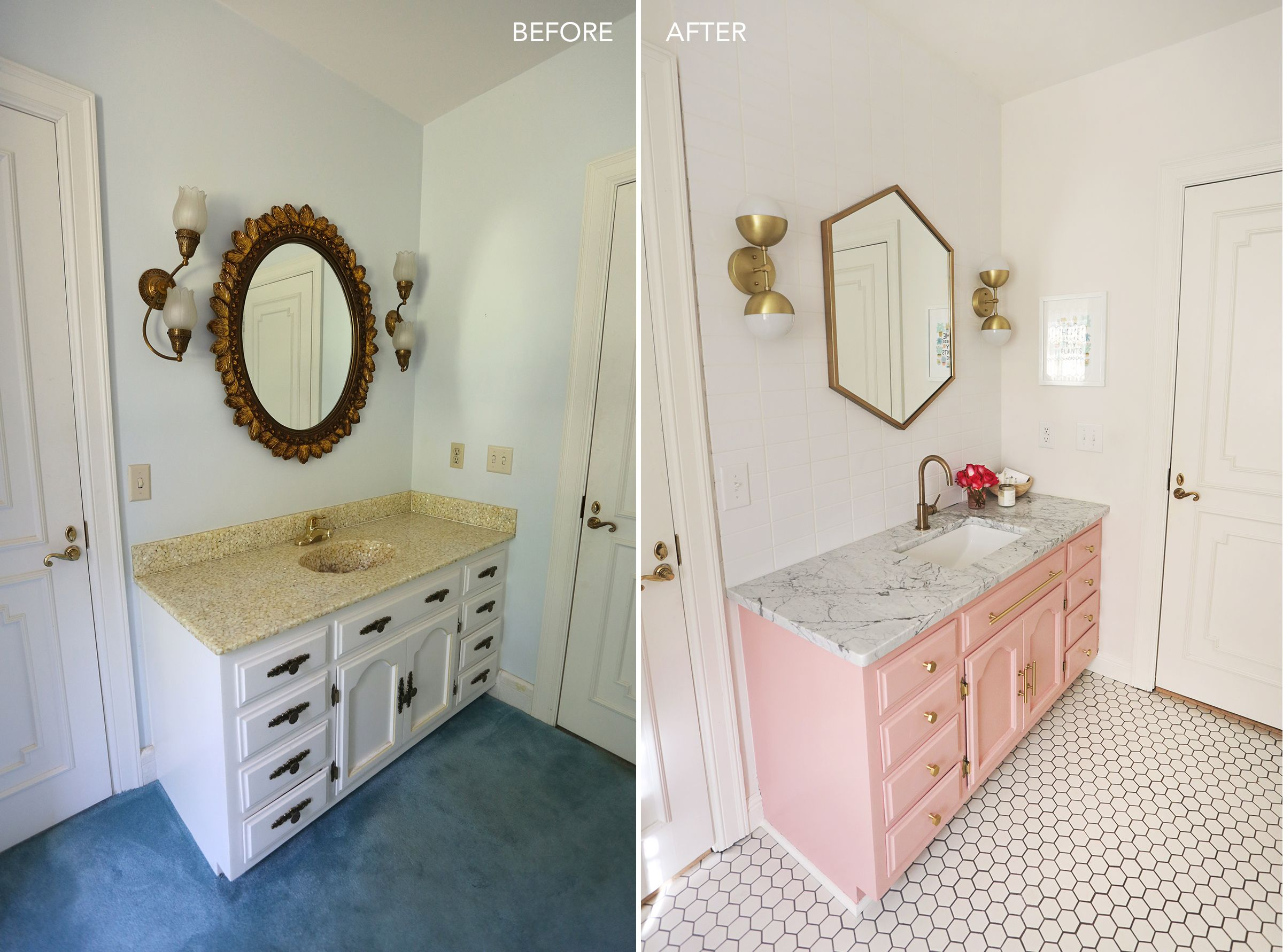 Elsie 39 s guest bathroom tour before after bathrooms - Diy bathroom remodel before and after ...